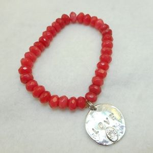 Jewelry - Faceted Red Bead LOVE Bracelet